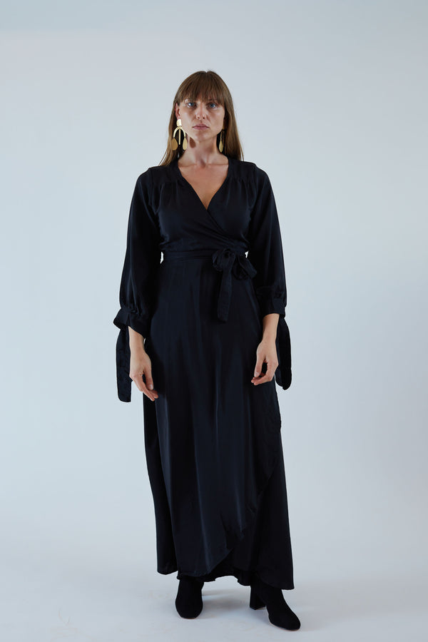 Danika Long Sleeve Dress Black Silk