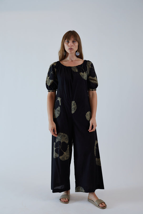 Sasha Jumpsuit Black Fan Batik