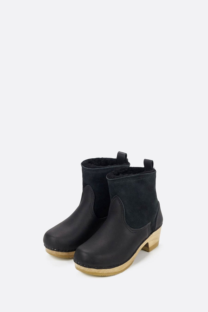 "5"" Pull on Shearling Boot on Mid Heel Black Suede"