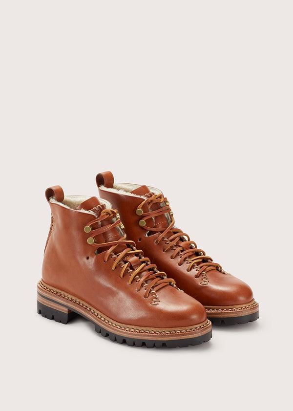 Whipstitch Hiker Wool Tan-Brass