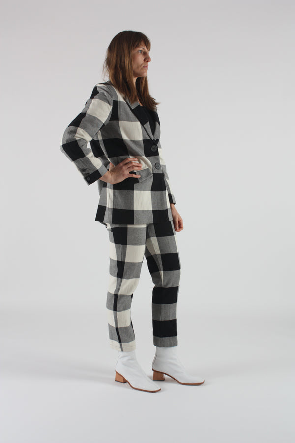 Tatum Jacket Black and Cream Plaid