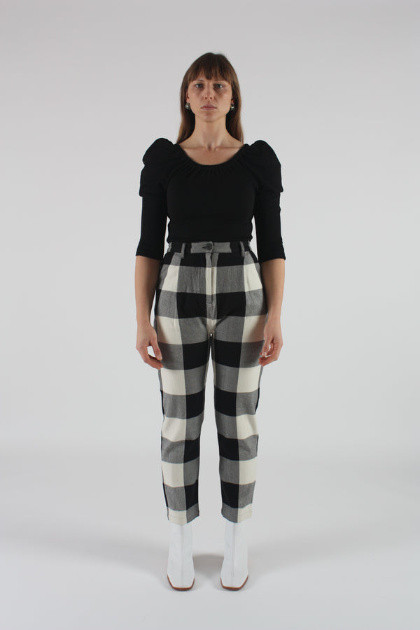Dita Pant Black and Cream Plaid