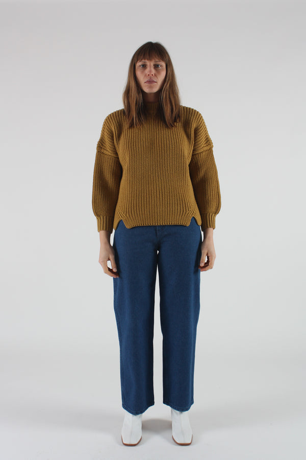 Notched Hem Sweater Ochre