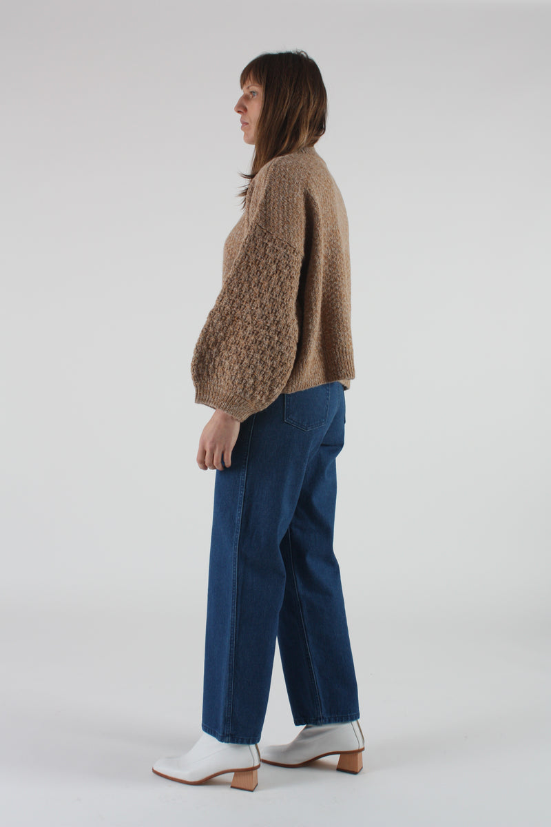 Tulip Sleeve Sweater Wheat