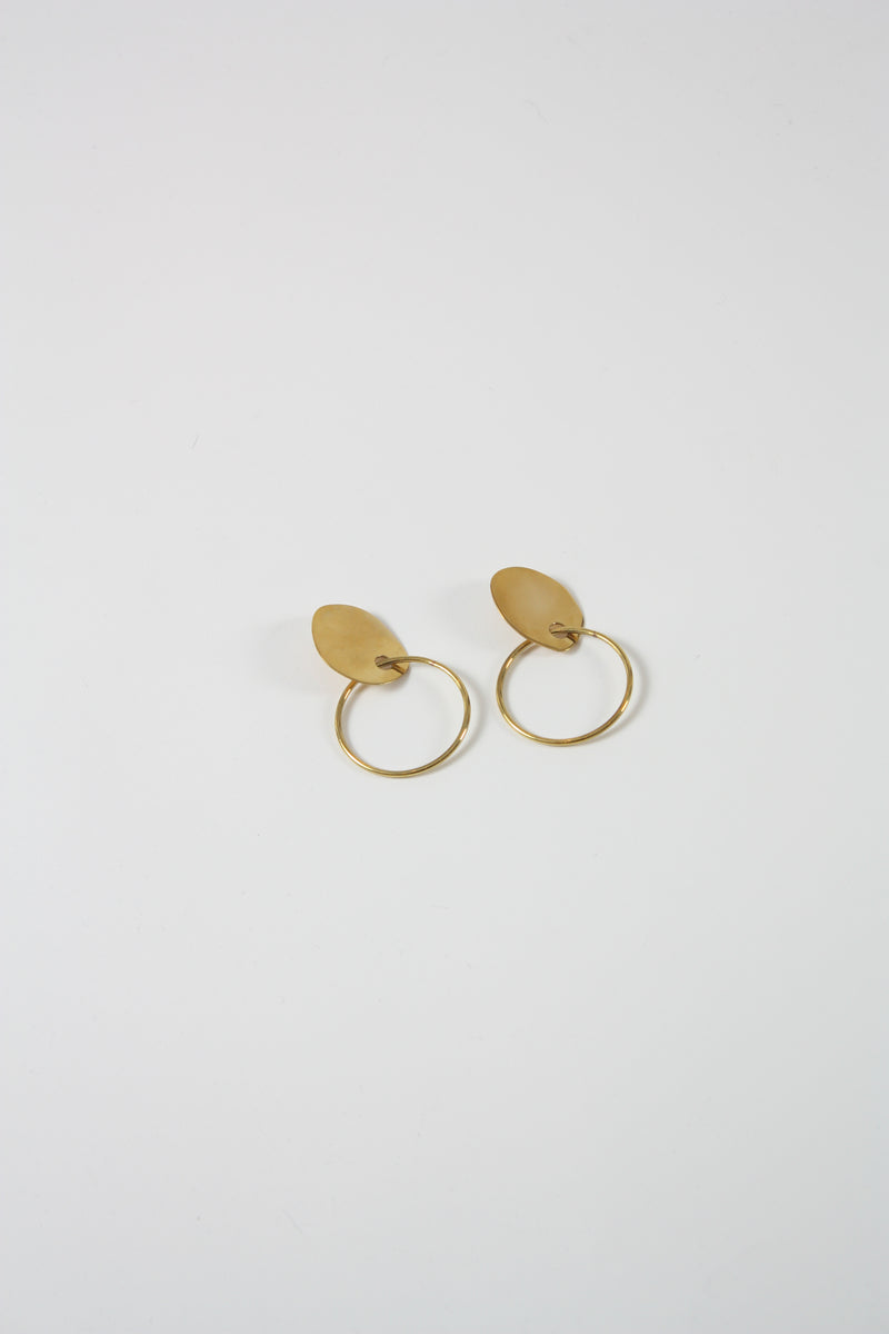 Stone Hoops High Polish Brass