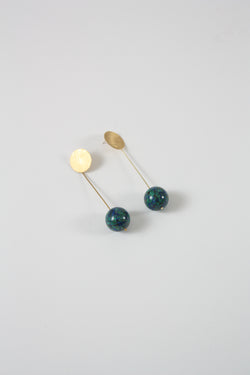 Stone Drop Sphere Earrings Azurite Malachite
