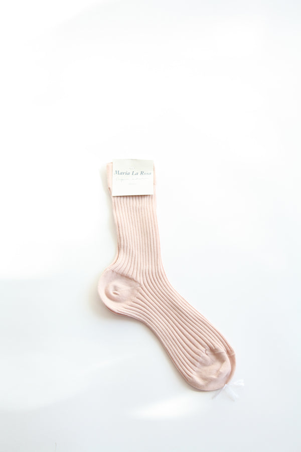 Organic Cotton Ribbed Mid Calf Sock Pale Pink