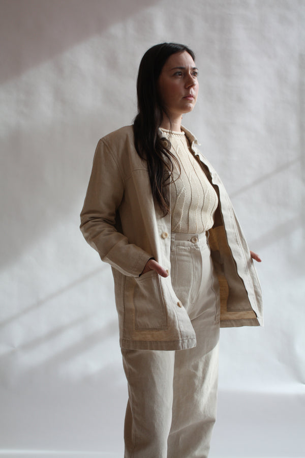 Work Jacket Natural Linen Canvas