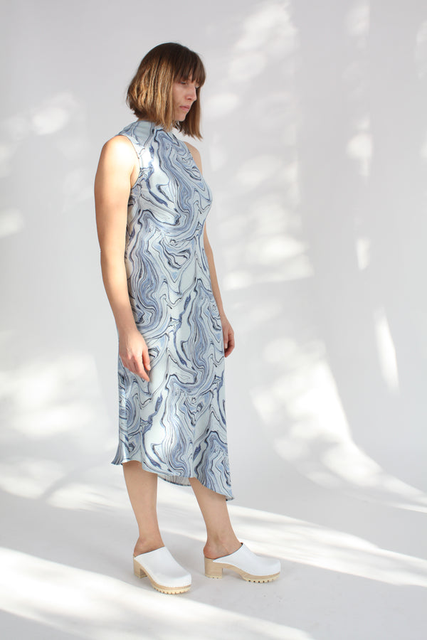 Cowl Bias Dress Marble Print