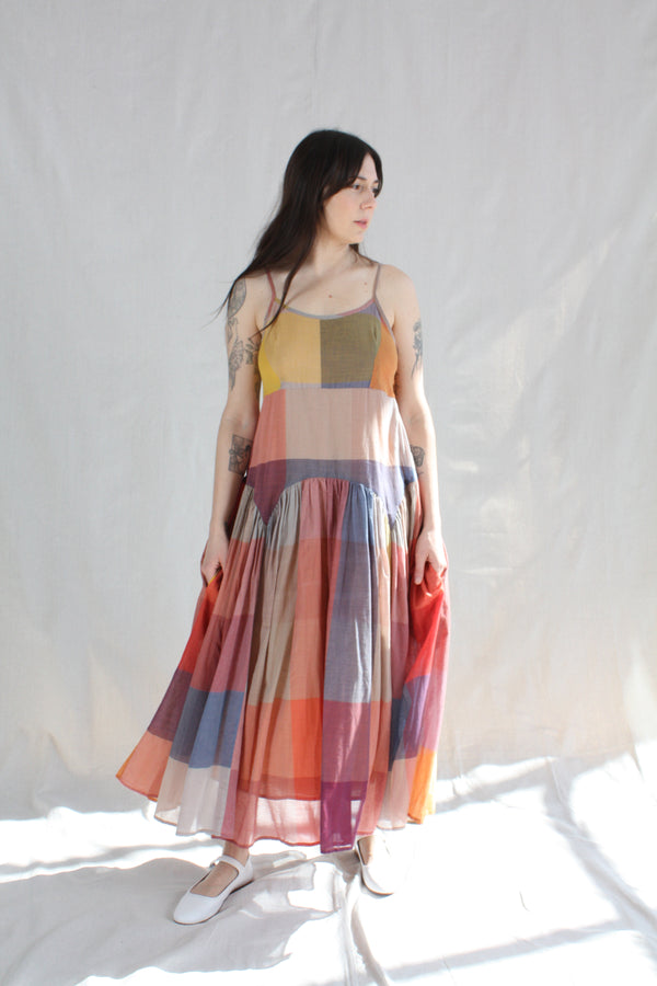 Leila Slip Dress Dusk Multi Check