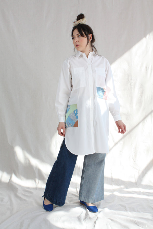 Patchwork Roadtrip Shirtdress White