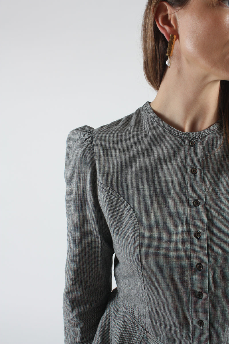 Rosa Blouse Onyx Houndstooth