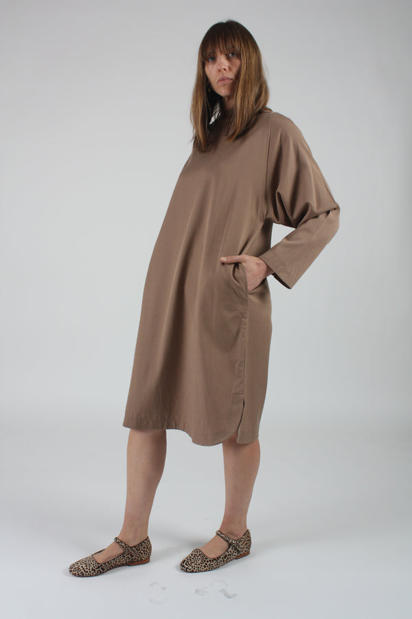 Folded Neck Dress Camel