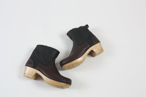 "5"" Pull on Shearling Boot on Mid Heel Espresso Aviator"