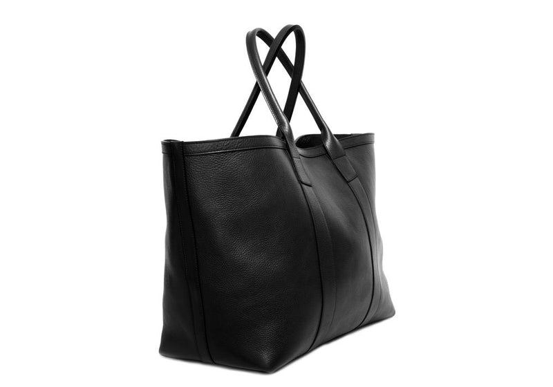 Leather Working Tote with Pocket Black