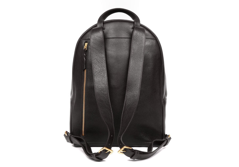 Leather Zipper Backpack Black