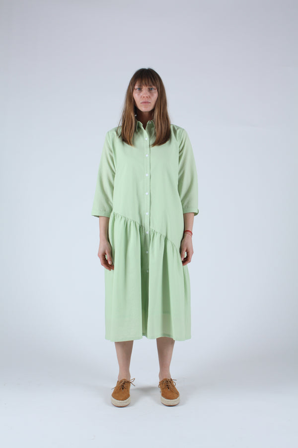 Gathered Shirt Dress Celery Seersucker