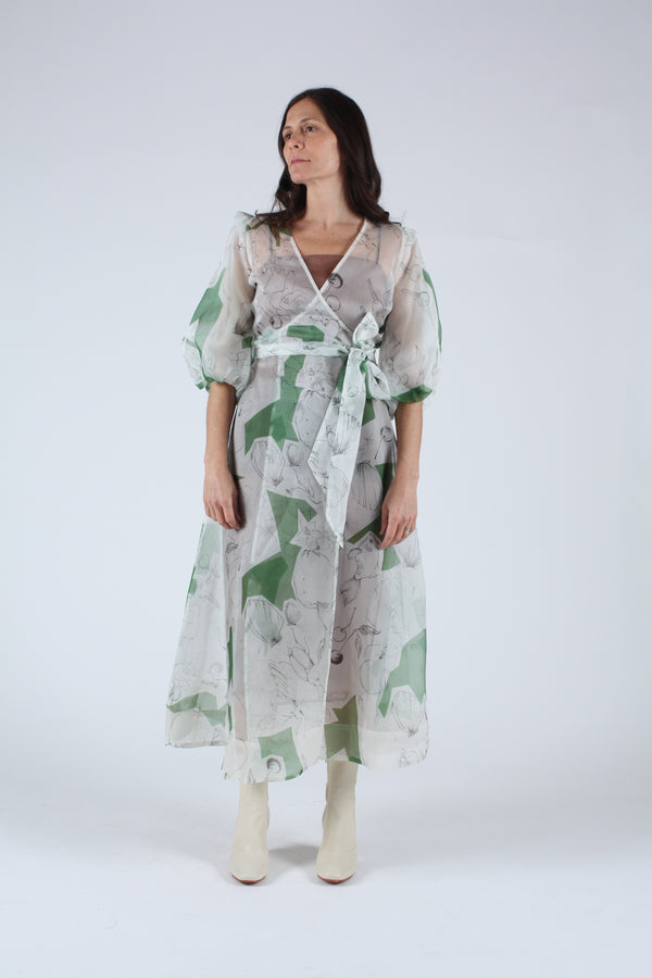 Loretta Silk Organza Midi  Dress Memories Print