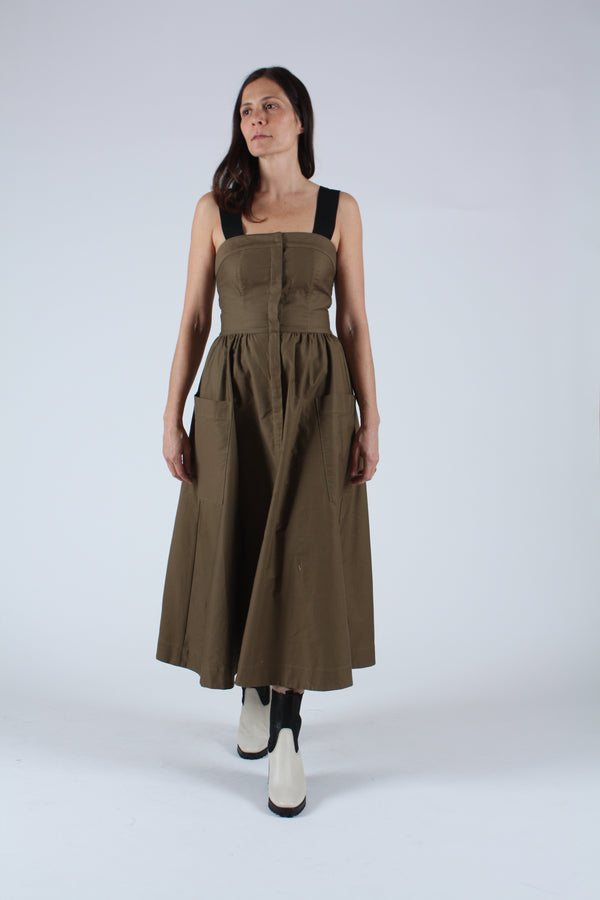 Kizette Cotton Twill Dress Olive
