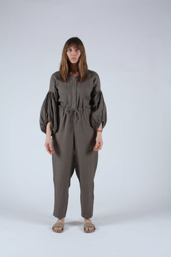 Balloon Sleeve Jumpsuit Grey