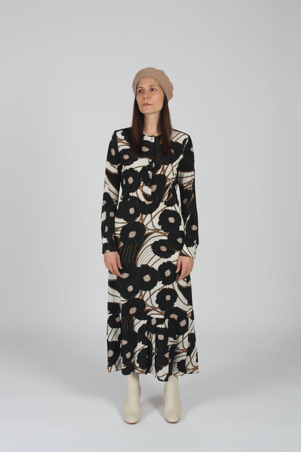 Cessation Dress Black Psychedelic Floral