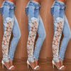 Side stitching slim stretch  jeans