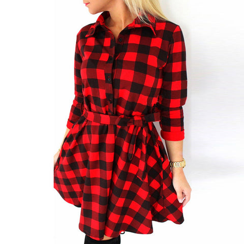 Image of Black and white plaid cropped sleeves bandage shirt dress