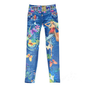 Flower Printed Imitation Jeans, leggings