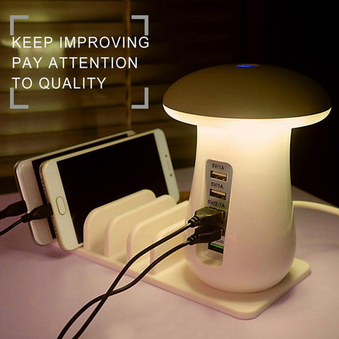 Besegad Mushroom LED Light Lamp USB Charging Dock Station Organizer with 5-Port for iPhone Samsung Galaxy Smart Phone Tablet