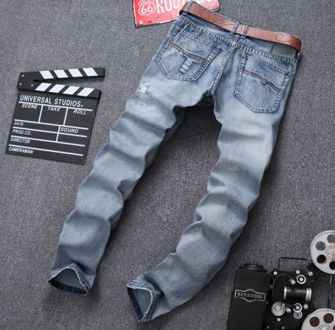 MCCKLE Fashion Brand Designer Mens Ripped Jeans Pants Light Blue Slim Fit Distressed Denim Joggers Male Plus Size Jean Trousers