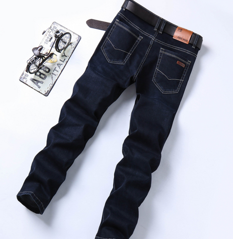 Image of 2018 autumn new jeans men's business straight slim men's denim trousers
