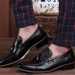 Men's Casual PU Leather Classic Slip-on Tassel Decoration Loafer Shoes