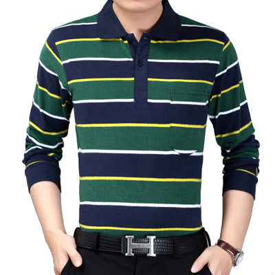 Image of Autumn new men's long sleeved T-shirt, striped Lapel shirt,