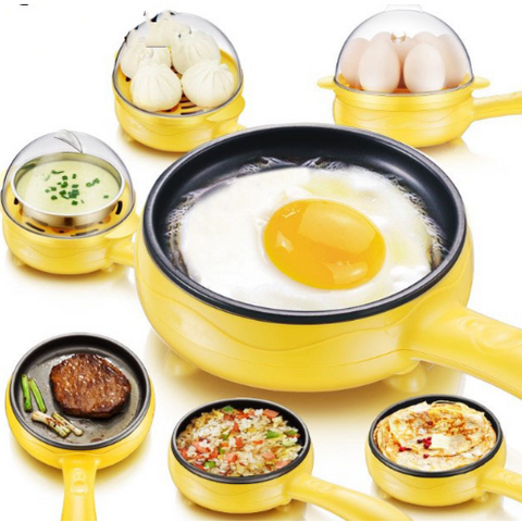 Non-Stick Eggs Boiler Steame Multifunction Household Mini Egg Omelette Pancakes Electric Fried Steak Frying Pan Boiled Egg