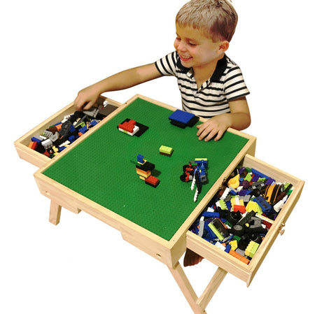 Image of LEGO compatible Storage Play Table folding Custom Made Wooden Chalkboard Kids Children