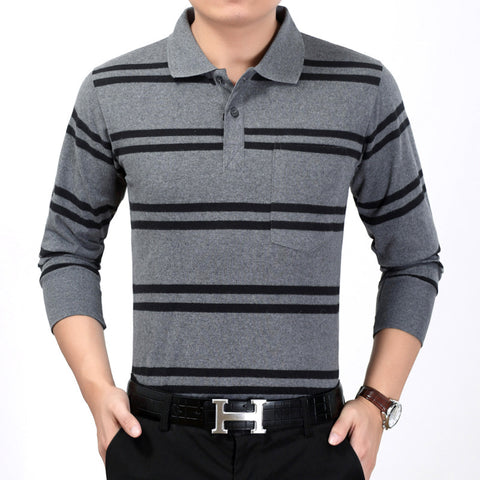 Autumn new men's long sleeved T-shirt, striped Lapel shirt,