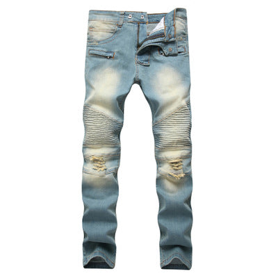 Cross border special for men's zipper, jeans, broken holes, dragging the yellow, nostalgic men, Europe and America high street stretch pants