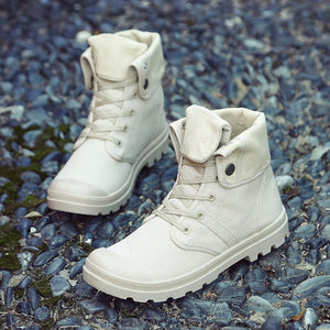 Men High-top Lace Up Canvas Sneakers
