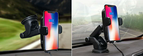 Image of Fast Wireless Car Charger with Automatic Infrared Sensor Car Mount