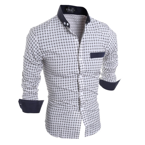 Luxury Mens Slim Fit Shirt Plaid Mens Shirts Slim Fit Cotton Long Sleeve Formal Dress Casual Social Plus Size Shirt