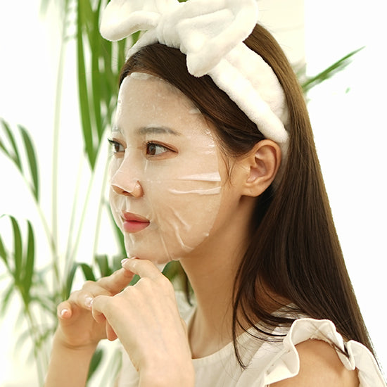 white / cotton happy mask - brightening