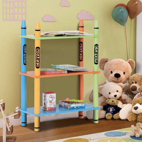 Kids 3 Tiers Crayon Themed Bookshelf