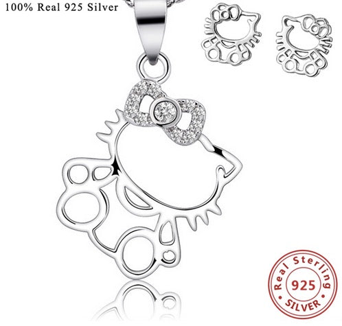 3b61b2da7 Cute Hello Kitty Silver with Necklace and Earring Set – cutziepie