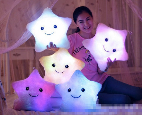 Creative Twinkle Star Glowing LED Night Light Plush Pillows Stuffed Toys