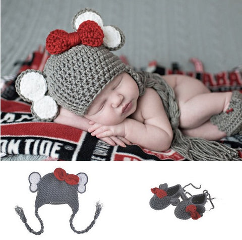 Newborn Elephant Crocheted Hat and Bootie Set