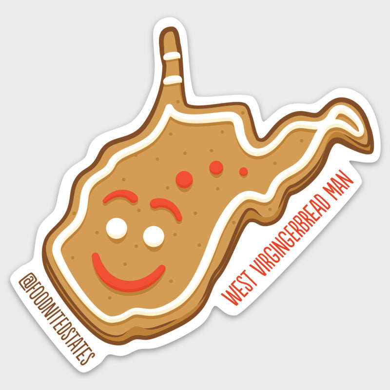 West Virgingerbread Man Sticker - The Foodnited States