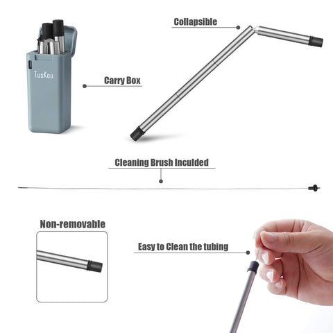 Image of Reusable Straw with Case, Portable Foldable Stainless Steel Straw with Cleaning Brush