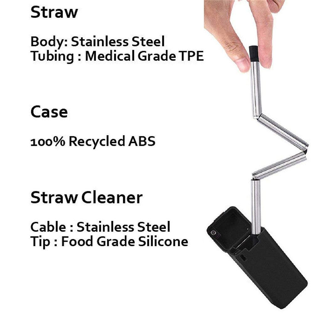Reusable Straw with Case, Portable Foldable Stainless Steel Straw with Cleaning Brush
