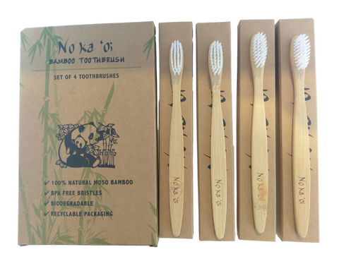 4-Pack of Eco Friendly Natural Bamboo Toothbrushes
