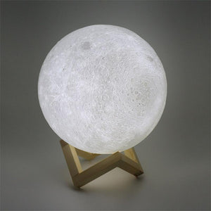 Rechargeable 3D Printed Moon Lamp Night Light
